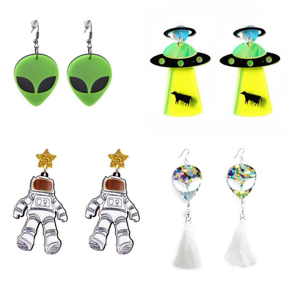 Серьги для женщин серьги Келли модные очаровательные преувеличенные в стиле хип-хоп подарок для девочек милый Инопланетянин НЛО саусерман