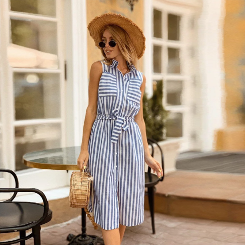 Vintage Sashes Striped Straight Dress Ladies Sleeveless Turn-Down Collar Summer Dress Casual Pockets Knee Dress Vestidos