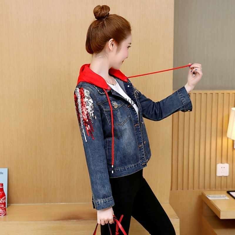 Mujeres calle alta lentejuelas con capucha de mezclilla prendas de vestir exteriores deshilachadas coreanas suelta ajuste Jeans chaqueta Streetwear ropa femenina abrigos cortos 2020