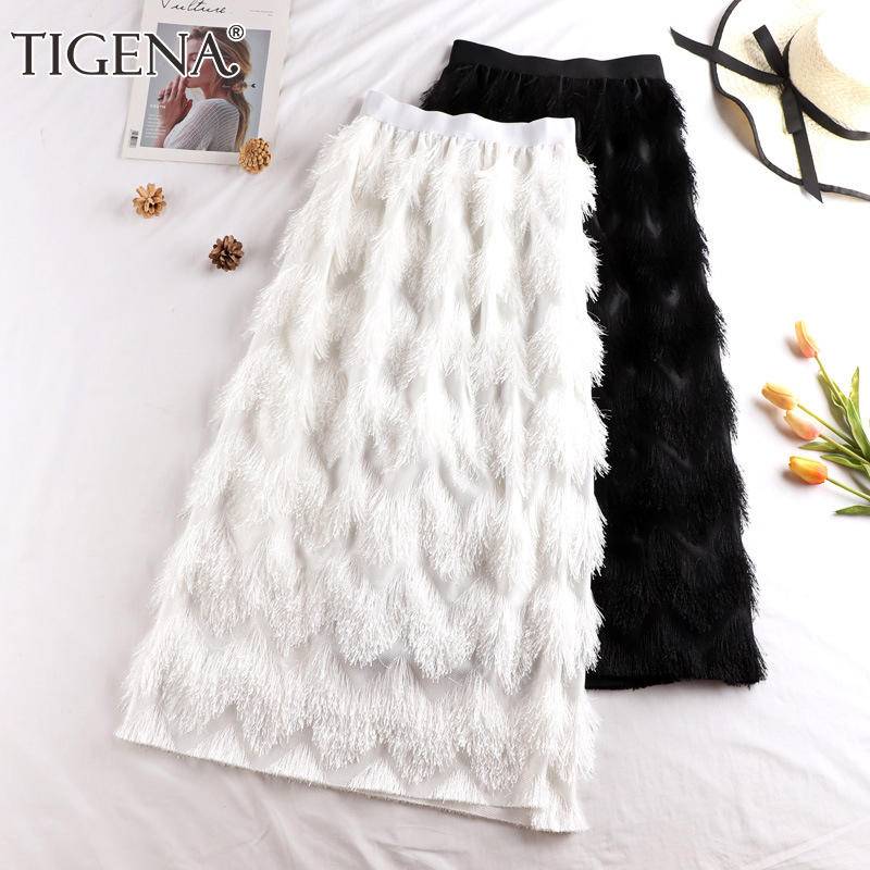 TIGENA Tassel Maxi Skirt Women Fashion 2019 Korean Casual Fringe High Waist Straight Long Skirt Female Ladies Black White