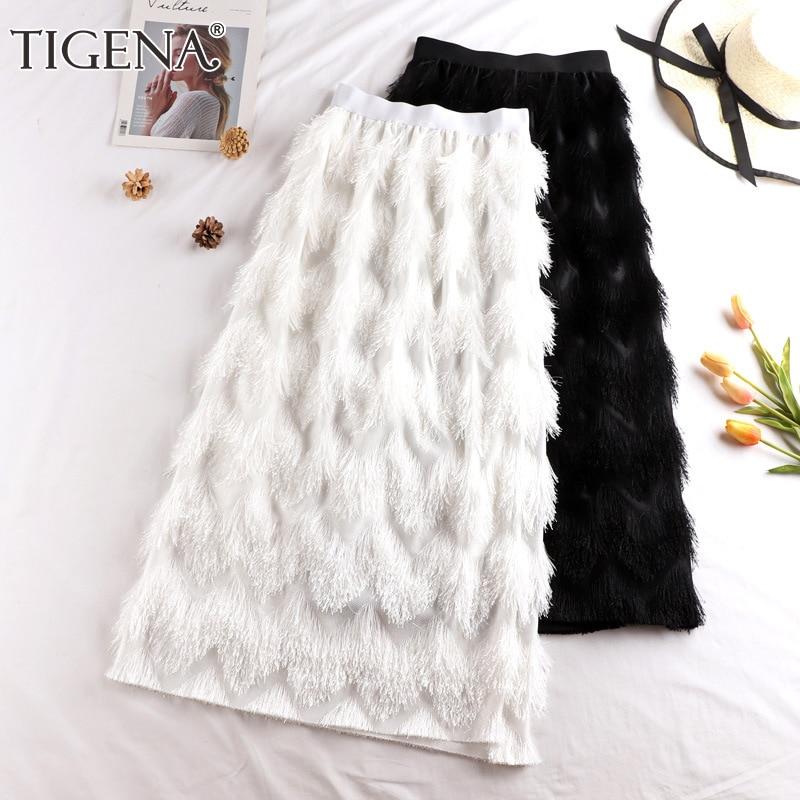 TIGENA Tassel Maxi Skirt Women Fashion 2019 Korean Casual Fringe High Waist Straight Long Skirt Female Ladies Black White