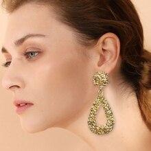 HOCOLE 2019 Fashion Gold Silver Metal Drop Earrings For Women Vintage Geometric Big Hanging Dangle Earring Female Party Jewelry