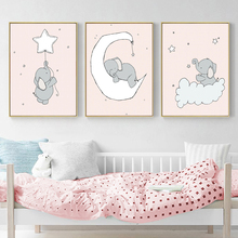 Pink Cartoon Little Bear Animal Picture Poster and Print Wall Art Canvas Painting Living Room Children's Bedroom Home Decoration недорого