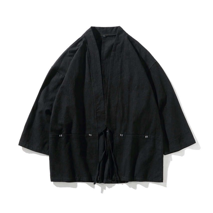 Traditional Japanese Style Fashion Men Retro Cardigan Samurai Kimono Haori Japan Warrior Yukata Obi Asian Coat Adult Clothing