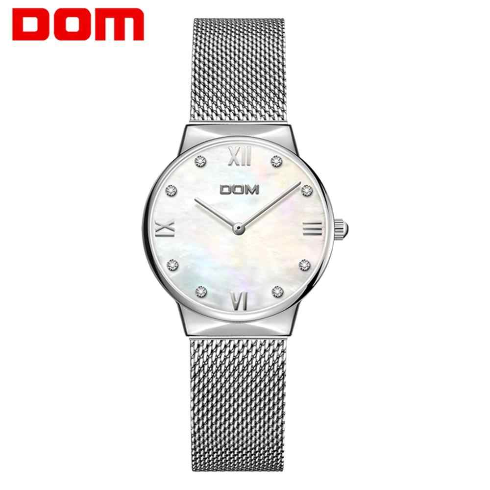 Drop shipping DOM Women Watch Quality Stainless Steel Band Quartz Movement Waterproof Women Ladies Luxury Wrist Watch G-32D-7M6