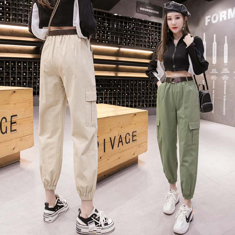 Women Cargo Pants 2020 Spring Summer Fashion Female High Waist Loose Harem Pant Pocket Casual Trousers Streetwear With Belt