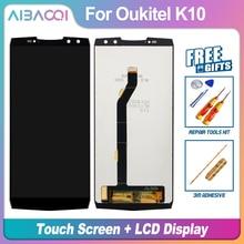 Aibaoqi novo original 6.0 polegada de tela toque + 2160x1080 lcd assembléia substituição para oukitel k10 telefone