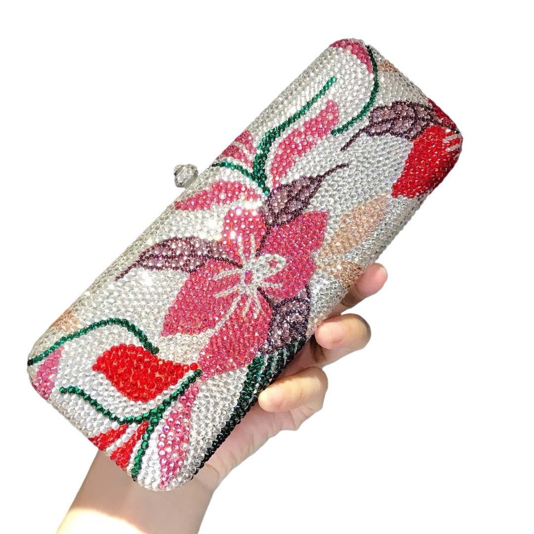 Bag For Women Diamond Flower Luxury Crystal Clutches Evening Bag Wedding Party Banquet Women Bridal Rhinestones Bling Clutch Bag-BeeInFly