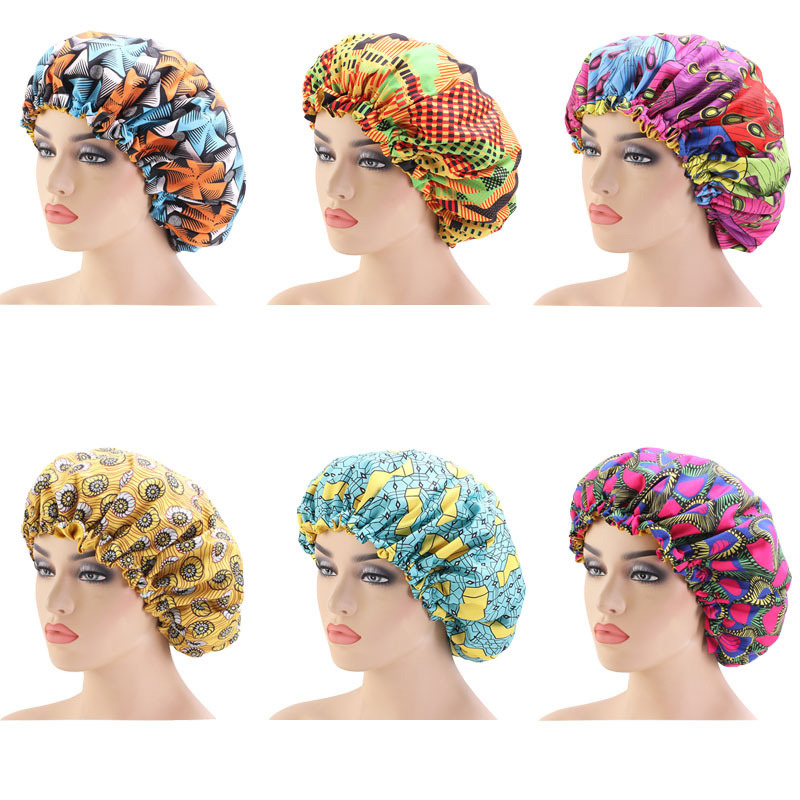 33cm Adjust Large Sleep Hair Styling Caps Print Hat Fabric Hair Bonnet Satin Lined Sleep Cap Night Hat Ladies Hair Styling Tool
