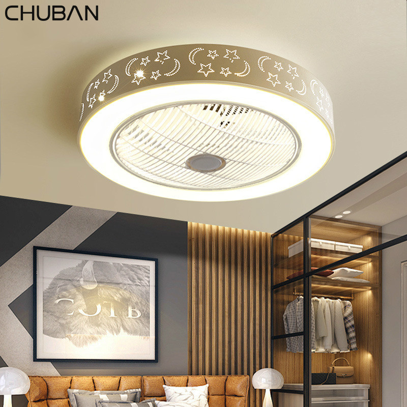 Modern Ceiling Fans With Lights White Painted Iron Acrylic LED Fan Light Dimmable Bedroom Living Room Fan Lamp Remote Control