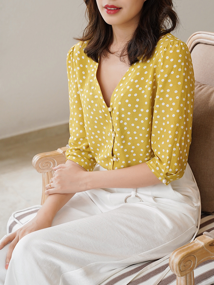 2020 New Women Lemon Yellow Polka Dot Print Blouse Half Sleeve Sweet Pearl Buttons Top