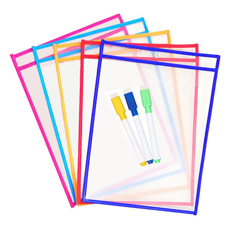 10x Transparent Pvc Reusable Dry Erase Pockets Storage Pockets 10pcs Pens Multifuctional Office Painting Supplies Random Color