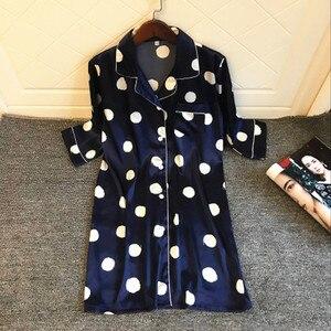 Image 5 - Женская ночная рубашка с принтом, шелковая ночная рубашка с коротким рукавом, атласная ночная рубашка, весна лето 2020