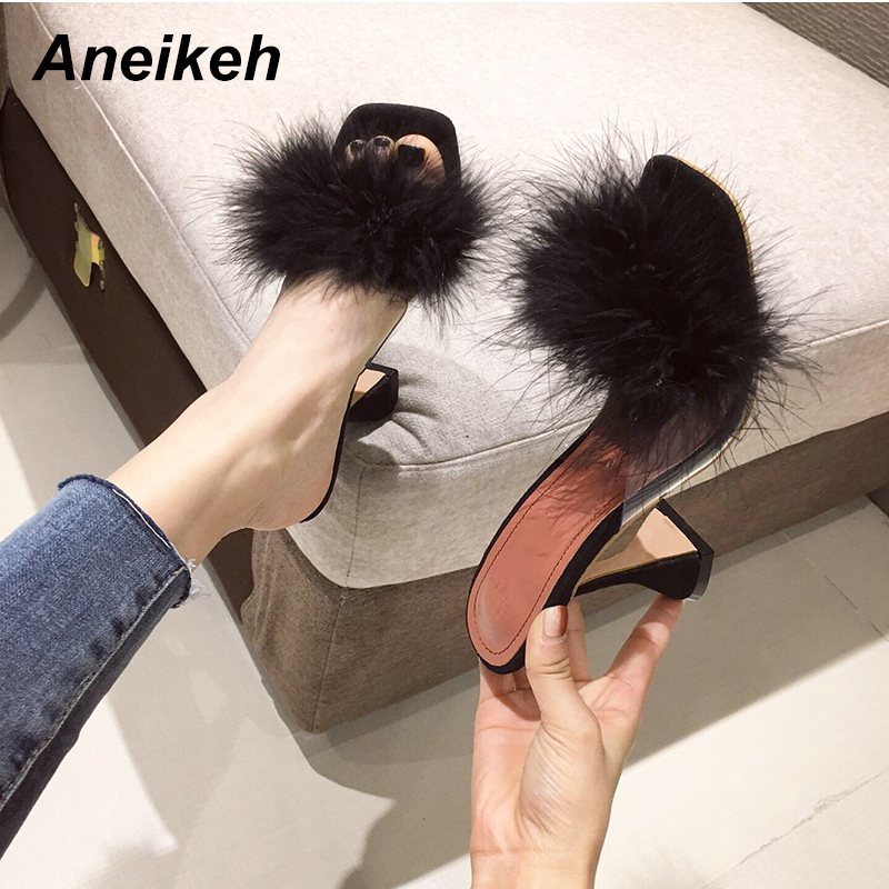Aneikeh NEW Summer Fluffy Terlik Gladiator Fashion Sandals Sexy Shoes Woman High Heel Peep Toe Party Thin Heels Pumps Size 35-42