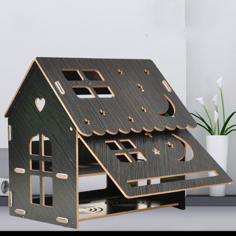 Boîte de rangement de routeur support de poinçonnage gratuit décodeur de bureau artefact de stockage en bois enfichable YHJ101004