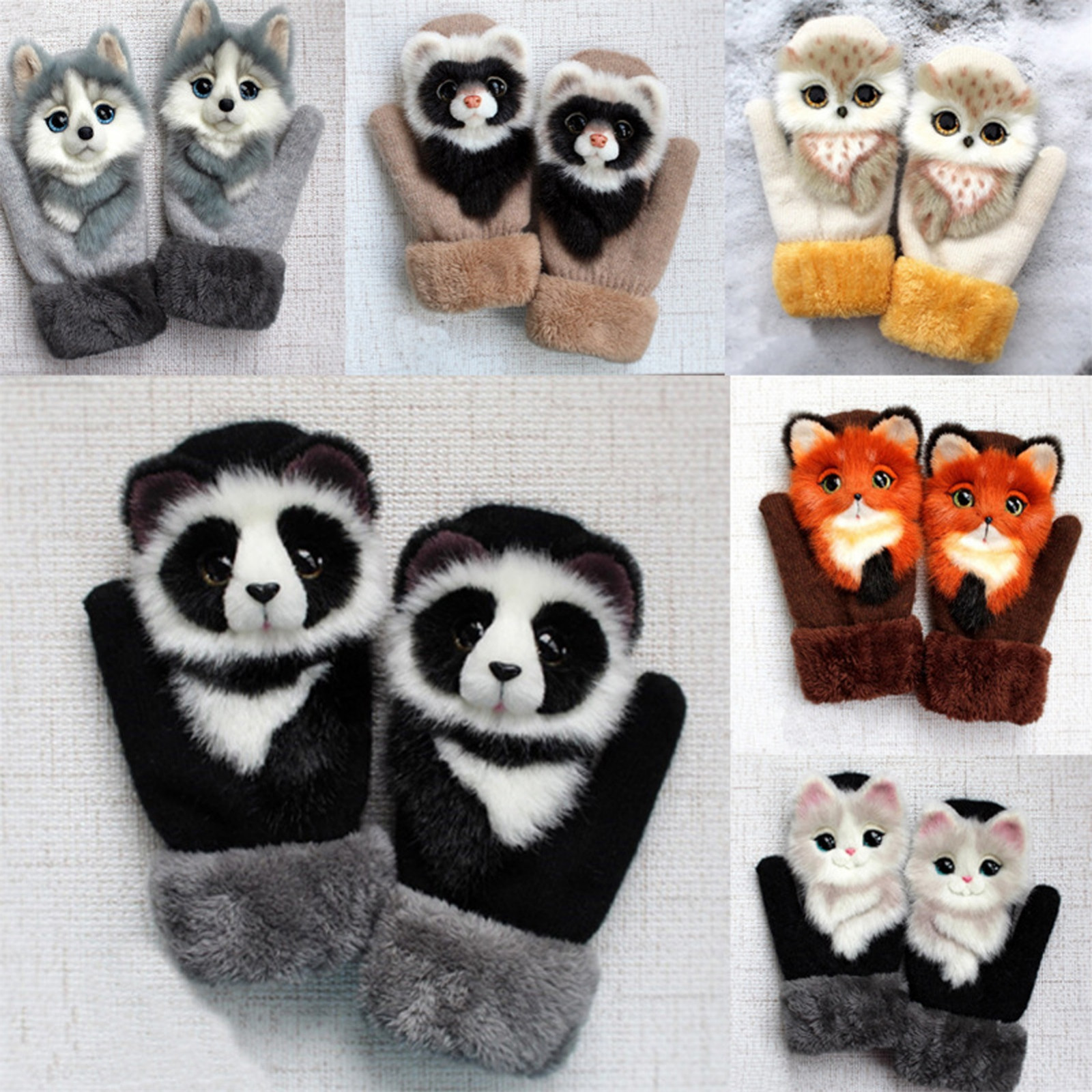 Winter Super Warm Gloves Cute Cat 3d Protective Gloves Winter Accessories Running Gloves Warm For Men And Women Half Finger 2021
