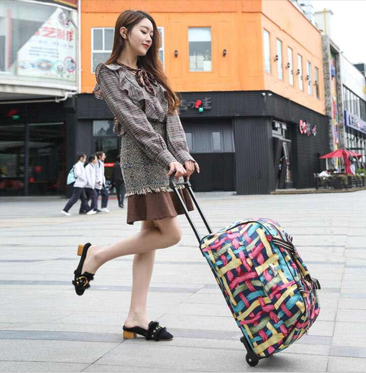 Women Travel Trolley Bags Carry On Hand Luggage Bags Wheeled Bag On Wheels Trolley Luggage Travel Suitcases For Girls