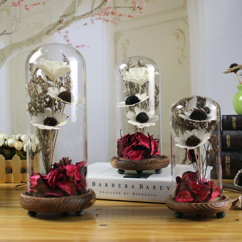Home furnishing ornaments sweet heart glass cover day dried flower wedding gift Artificial Flower lovers girl birthday present