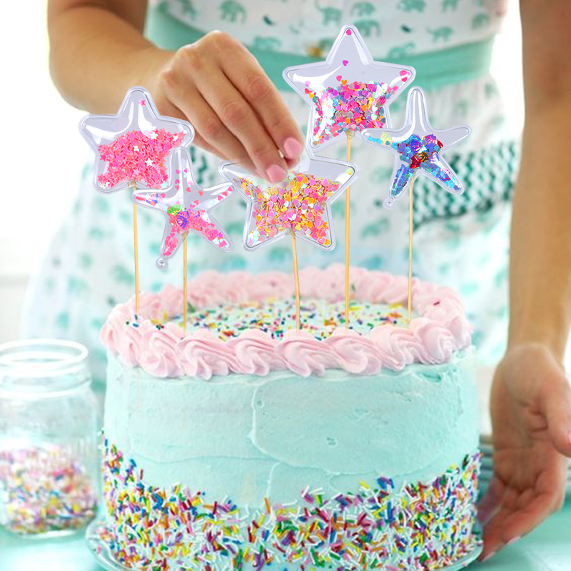 Supplies Crown Cloud Cake Topper Cupcake Toppers Cake Decor Transparent Star