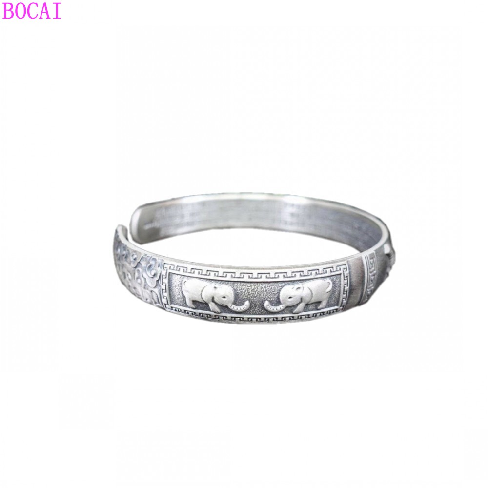 Auspicious Elephant Classic S999 Sterling Silver Bracelet Retro Thai Silver Craft Male Bracelet  2020 New Fashion Personality