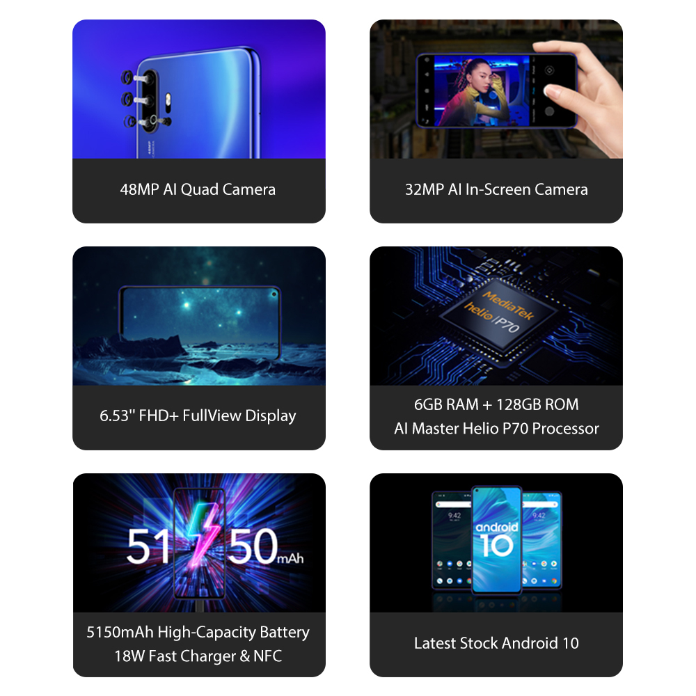 UMIDIGI F2 versión Global 6GB 128GB NFC Android 10 6,53 FHD 32MP Selfie Helio P70 48MP AI Quad Cámara teléfono móvil 5150mAh - 2