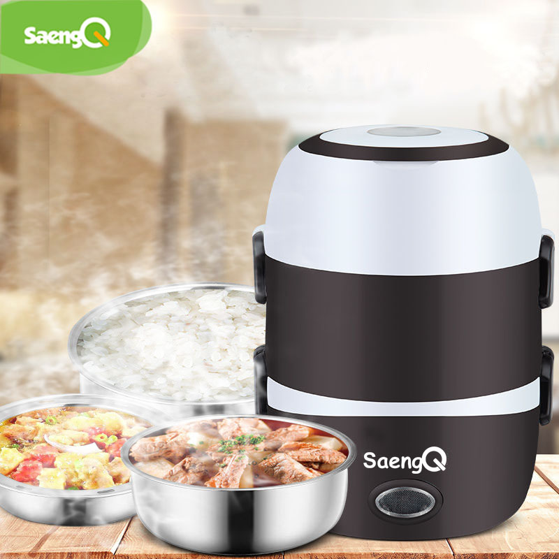 SaengQ Electric Rice Cooker Stainless Steel 2/3 Layers Steamer Portable Meal Thermal Heating Lunch Box Food Container Warmer