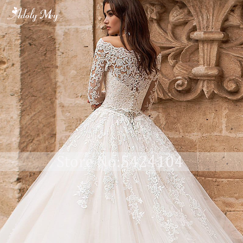 Image 4 - Adoly Mey Romantic Boat Neck Appliques Long Sleeve A Line Wedding Dress 2020 Luxury Sashes Beaded Court Train Vintage Bride GownWedding Dresses   -