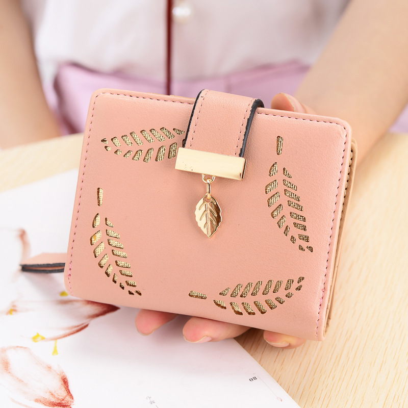 Women Wallet Short Purse Gold Hollow Leaves Pouch Handbag Zipper Pocket Wallet For Girls Coin Purse Fashion Card Holder Carteira