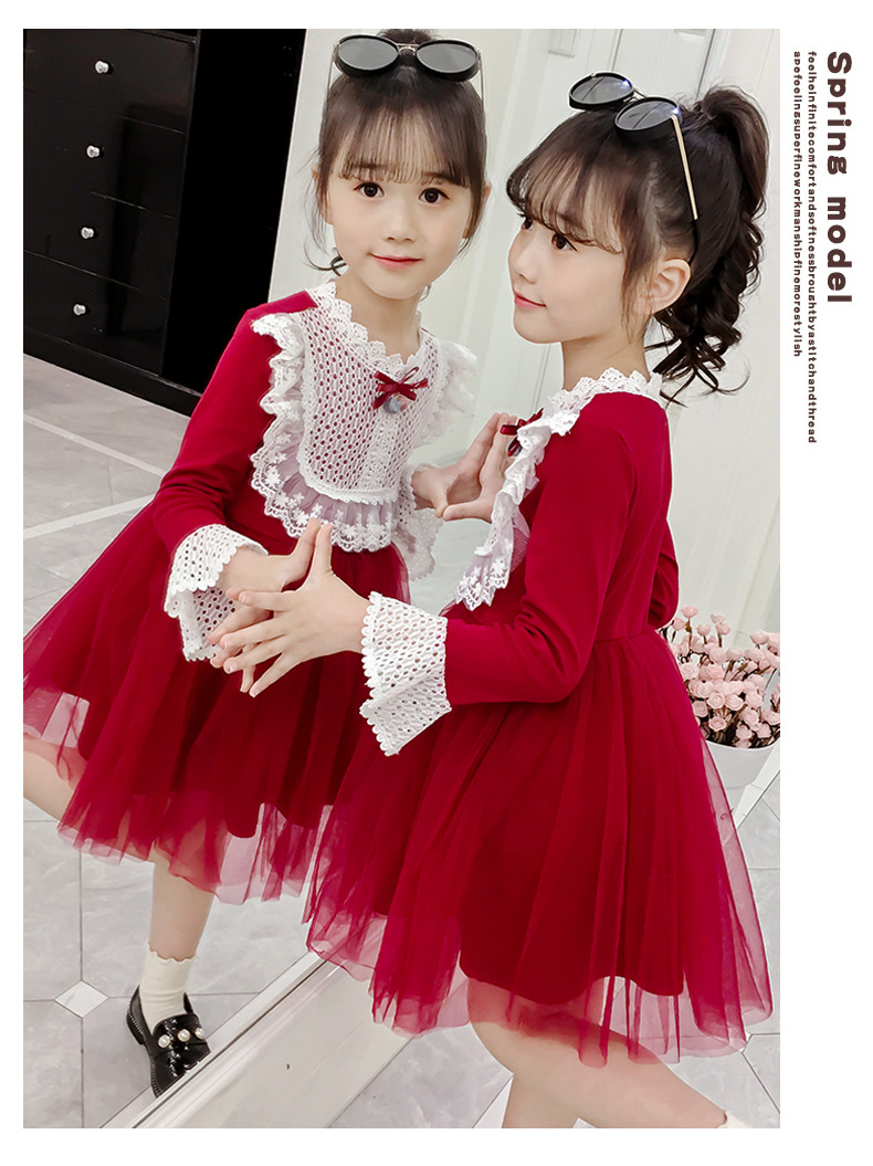 2020 Spring Autumn Teens Kids Cotton Lace Collor Dress for Baby Girls 3-13 years Dress Fashion Cute Long Sleeve Red Mesh Dresses (12)