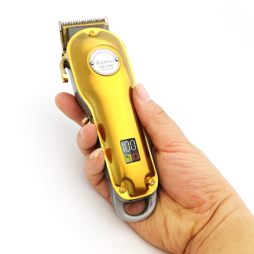 Kemei Professional Hair Clipper Barber Cutter Electric Cordless Hair Trimmer Gold And Silver Hair Cutting Machine 1986 All-metal