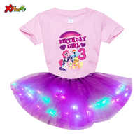 Girls Personalized Dress Suit Princess Party Tutu Dress Light LED Dress Girls Birthday Numbers Bow Cartoon Dress Sets Party Gift