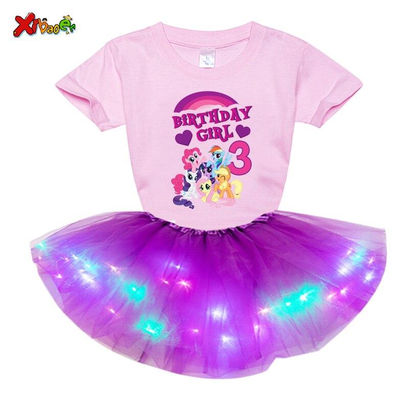 Meninas vestido personalizado terno princesa festa tutu vestido de luz led vestido meninas números de aniversário arco dos desenhos animados conjuntos de vestido de festa presente