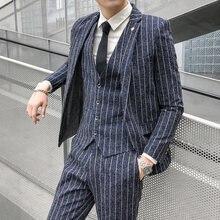 Мужской костюм в полоску Модный корейский приталенный Блейзер