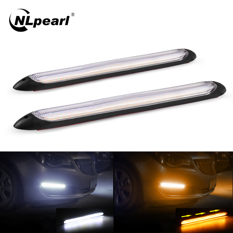 NLpearl 12V Sequential DRL LED Daytime Running Light for Car Headlight Waterprool Flow LED DRL Turn Signal Yellow Extra Light