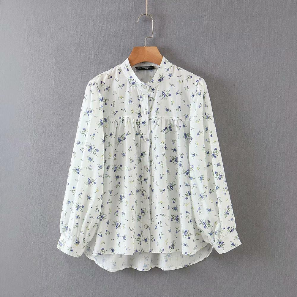 New 2020 Women Fashion Floral Print Casual Shirt Blouses Women Stand Collar Roupas Sweet Femininas Chic Chemise Tops LS6513
