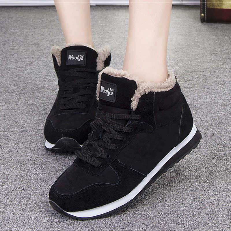 Women Vulcanized Shoes Ankle Boots Lace Up Snow  Warm Fur Winter Female