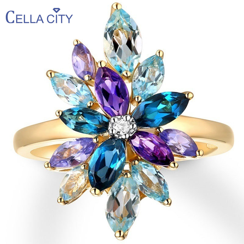 Cellacity 925 Silver Ring For Charm Women With Oval Shape Gemstones Zircon Fine Jewelry Lady Party Gift Wholesale Size 6-10