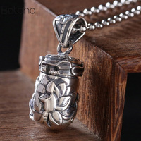 New Real 925 Sterling Silver Buddha Lockets Floating Mantra Lotus Pendants Openable Antique Buddhist Prayer Box Talisman Amulet