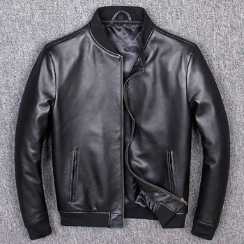 Free shipping.Brand classic man genuine leather coat,soft sheepskin jacket.leather jacket.plus size sales,casual bomber flight - discount item  10% OFF Coats & Jackets