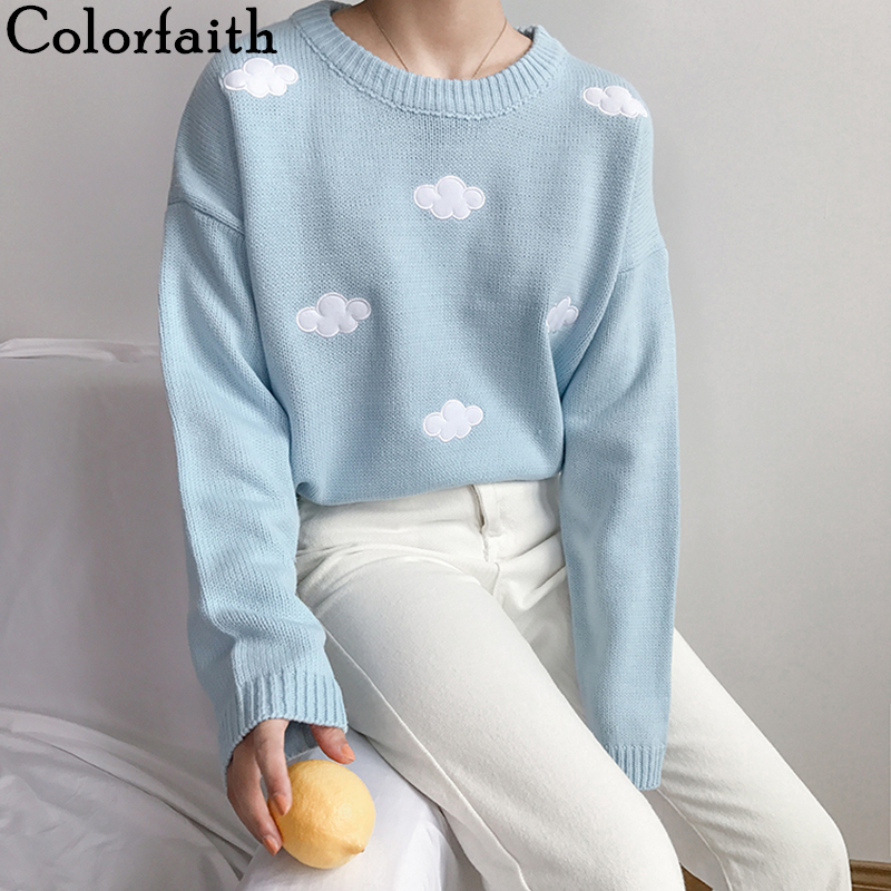 Colorfaith New 2020 Spring Fall Women Sweaters Knitting Fashionable Pullovers O-Neck Femininas Wool Loose Casual Wild Tops SW201