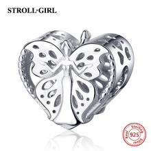 StrollGirl Authentic 925 sterling silver Elegant Elf Heart Beads Charms Fit European Bracelets For Women DIY Jewelry Accessories floating heart locket beads fit european charms bracelets real 925 sterling silver jewelry women diy fine jewelry wholesale