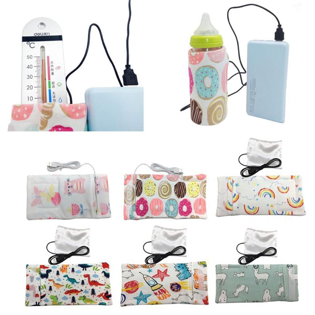 MUQGEW USB Nursing Bottle Heater Warmer Travel Stroller Insulated Bag  Milk Water Baby Bottle Accessories JY6
