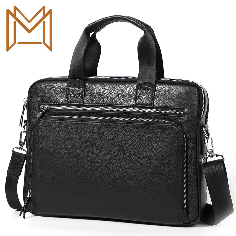 Capacity Briefcase Genuine Leather Male Layer Cowhide Hand Bill Lading Shoulder Satchel Male 14 Inch Computer