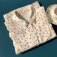 New Cotton Women Floral Print Loose Blouse Shirt Three Quarter Sleeve Cute Tops
