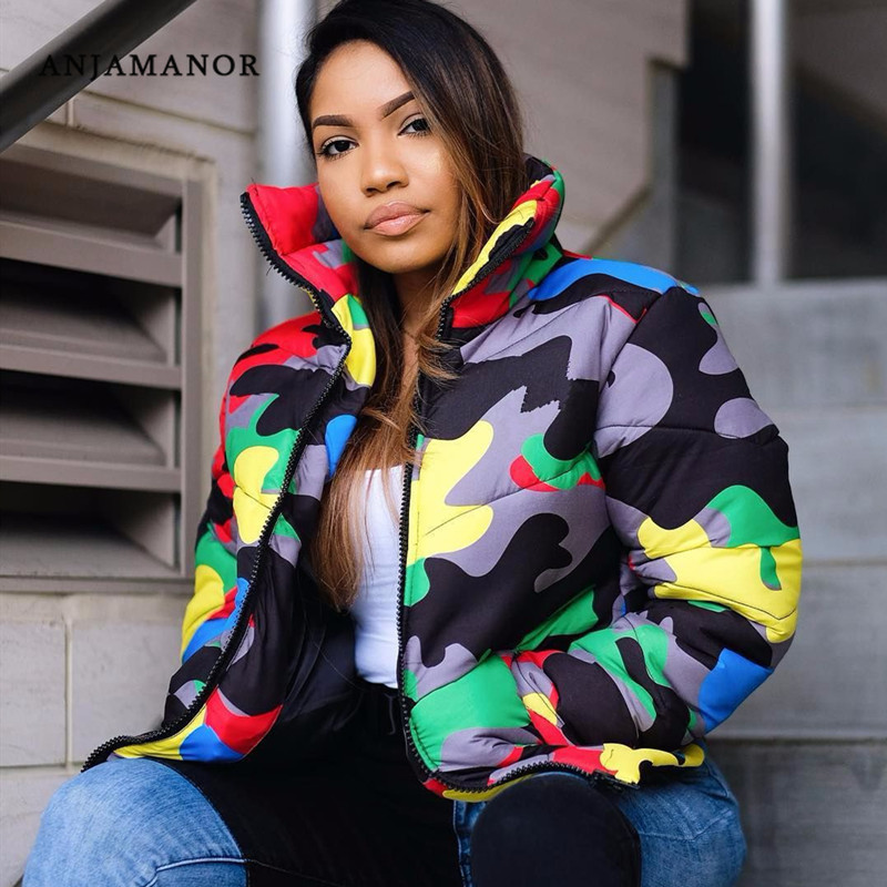 ANJAMANOR Camouflage Print Winter Jacket Women 4XL Plus Size Bubble Coat Oversized Puffer Jacket for Winter Fashion Parka 30FB44(China)