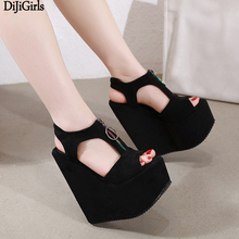 17cm High Heels Platform Wedges Shoes Women Fashion Ladies Black High Heel Shoes Zipper Wedge Sandals Ladies Gladiator Sandals