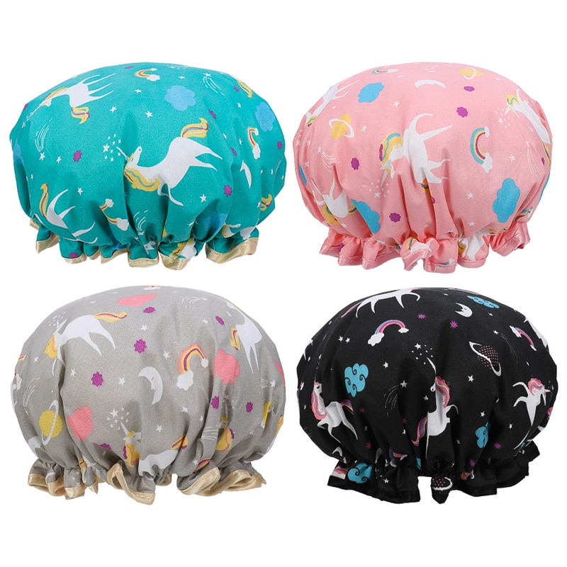 Thick 4Pcs Waterproof Bath Hat Double Layer Shower Hair Cover Women Supplies Shower Caps Bathroom Accessories