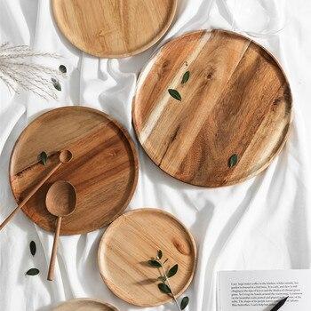 Цельной древесины Lovesickness из цельного дерева деревянный поддон фрукты блюдо, тарелка Чай лоток десертный ужин тарелка круглой Форма набор п...