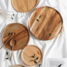 Natural Acacia Wood Dishes Wooden Pan Square Tray Fruit Dessert Saucer Dinner Plate Round Tableware Sets NEW YEAR 2021 Utensils