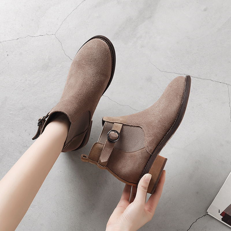 Winter Shoes Women Ankle Boots Suede Black Chelsea Boots Slip on Ladies Casual Thick Heel Shoes Fashion Comfortable Female 2019
